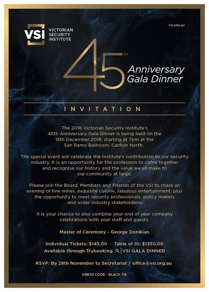 45th Anniversary Gala Dinner 15th December -- invite 2018